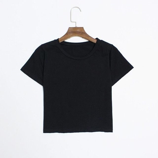 Hermicci Women's Solid Color Plain T Shirt Crop Top Women 2017 Summer Short Sleeve O Neck T-shirts Black White Tees Femme