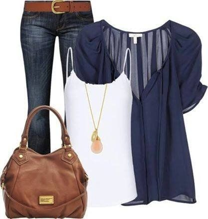 I love these colors and accessories. The shirt is basic bit has enough detail to not be boring