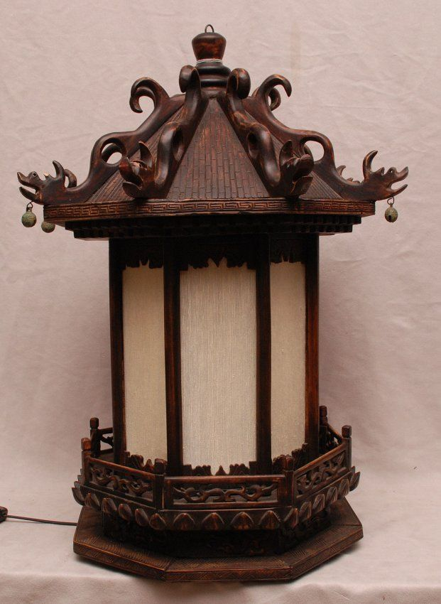 chinese wooden lanterns | Chinese wood lantern, electrified : Lot 348A