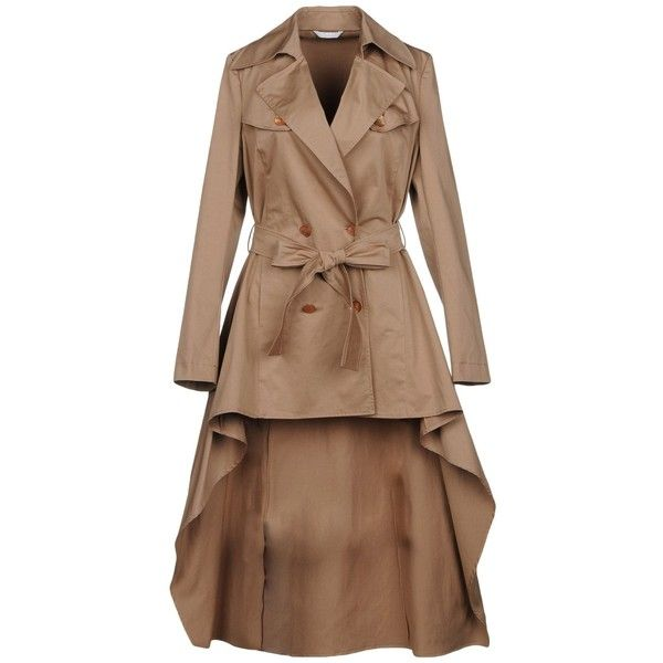 Carla G. Overcoat (€195) ❤ liked on Polyvore featuring outerwear, coats, khaki, khaki coat, collar coat, brown double breasted coat, lapel collar coat and double breasted coat