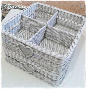 osztott Купить Плетеная корзина для хранения мелочей (резерв) - серый, плетеная корзина, плетение из газет