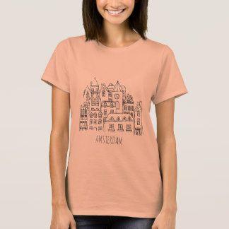 Amsterdam Netherlands Holland City Souvenir Orange T-Shirt #womens #chich # modern #