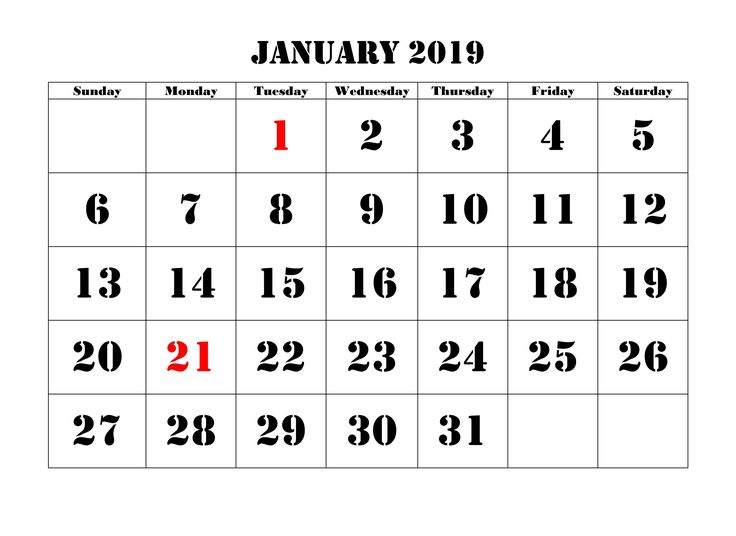 January Calendar 2019 Template January 2019 Calendar Printable
