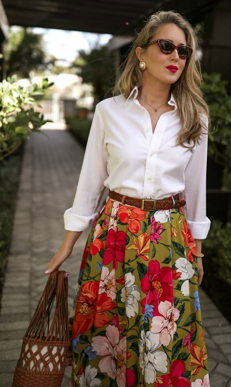 Classic, Multi-Tasking Vacation Style // White button-down menswear shirt, pleated floral-print tencel and linen-blend maxi skirt, brown woven leathe…