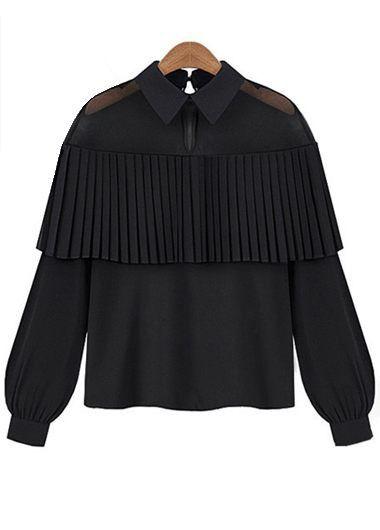 Peter Pan Collar Long Sleeve Black Blouse with cheap wholesale price, buy Peter Pan Collar Long Sleeve Black Blouse at Rotita.com !