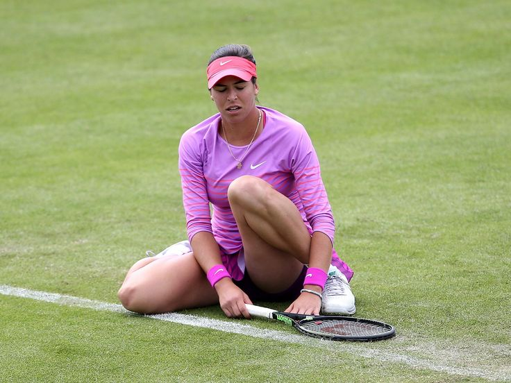 Ajla Tomljanovic of Croatia shows her disappointment against Lauren Davies of USA in their first round match on day one of the WTA Aegon Open Nottingham in Nottingham, England.  Jan Kruger, Getty Images for LTA