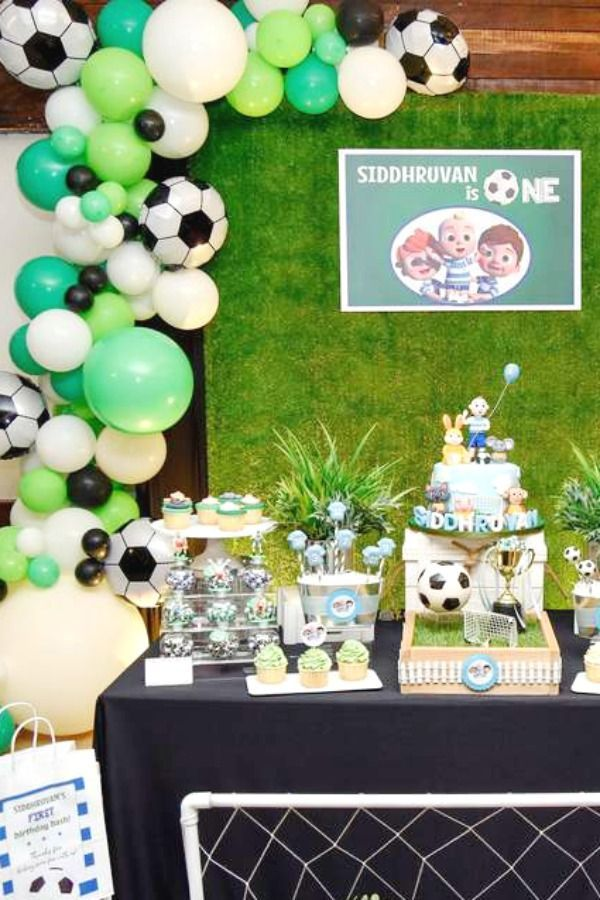 Cocomelon X The Soccer Theme Birthday Party Ideas Photo 1 Of 23 Soccer Birthday Parties Birthday Party Themes Theme Party Decorations