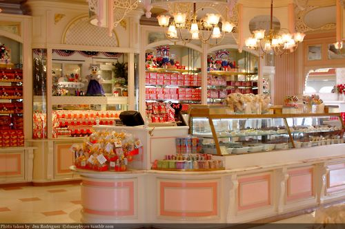 Disneyland candy shop. It took me a full hour to eat one of their candy apples. In other words, get one after the park closes, go across the street to the porch, and have it for dinner while you watch the exodus.