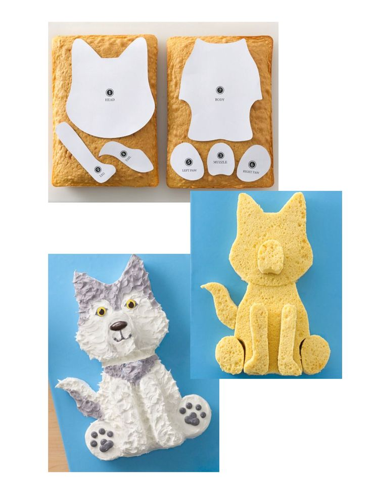 "Wolf Cake: Yellow cake mix, bake, cut out the shape, and presto! Could be easily frosted to match your favorite fido. (Adaptation of  Betty Crocker ""Husky Cake"")"