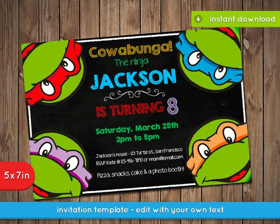 Ninja Turtle Birthday Invite Template for good invitation design
