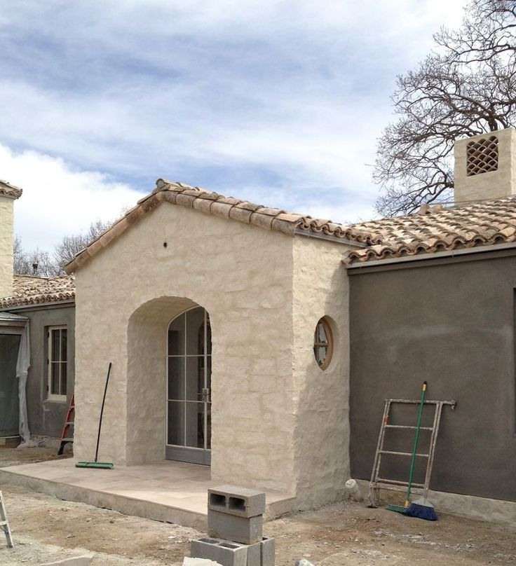 Patina Farm Update Tile Chimney Exterior Stucco And The Wood Barn