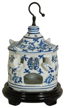 11 in. Dia. Blue & White Floral Porcelain Bir asian-pet-supplies