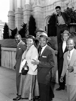 Martin Luther King Jr. and Coretta Scott King at the Montgomery, Alabama courthouse where Dr. King was tried for leading the bus boycott that brought national attention to the Civil Rights Movement.: