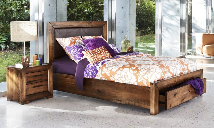 Rough sawn timber look <3 http://www.bedshed.com.au/beds-frames-and-bedroom-furniture/bedshed/aspen-queen-size-timber-bed