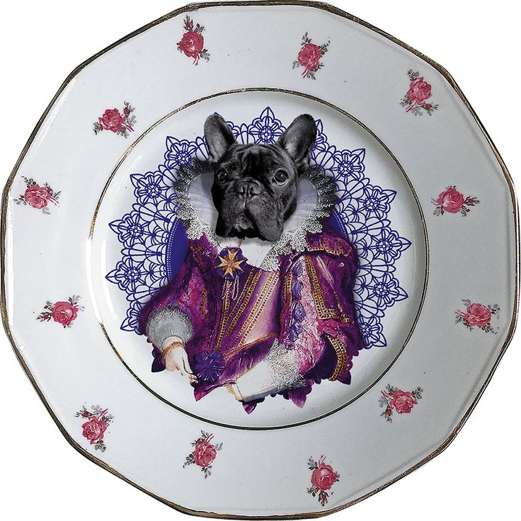 Lady Blondie - French Bulldog - Vintage Porcelain Plate - #0420 by ArtefactoStore on Etsy