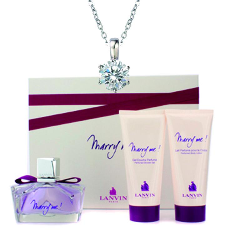 "Set san Valentin Precio oferta: $51.990.- 43% Dscto Referencia : $92.623.- - Perfume Spray Lanvin ""Marry Me"" 75 ML. - 1 Locion Corporal Perfumada ""Marry Me"" Lanvin 100 ML - 1 Gel de Ducha Perfumado Lanvin 100 ML. - 1 Collar Swarovsky Elements modelo ""Mestige Princess""."