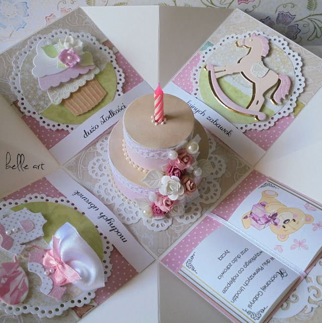 belle art, birthday card, cake