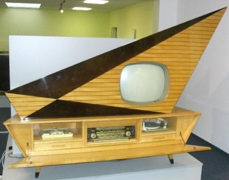 unusual vintage tv  radio   record player and tape unit