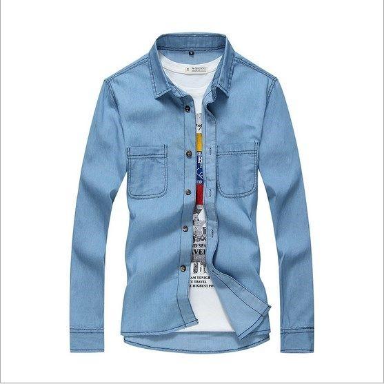 Mens Denim Shirts Fashion 2016 Spring Autumn Mens Blue Jeans Shirts Casual Slim Fit Men's Long Sleeve Shirts For Men Size M-XXXL