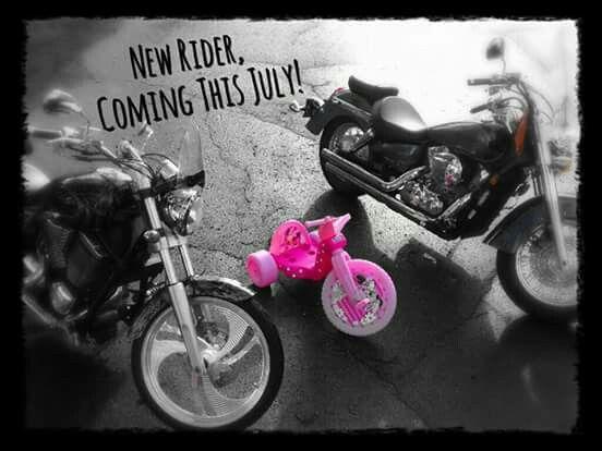 Motorcycle baby gender reveal photo!