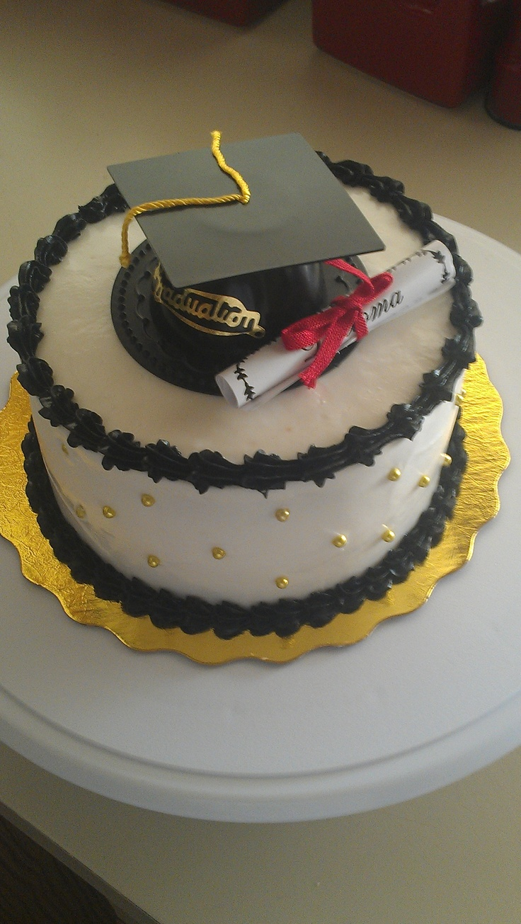 Black and Gold Graduation cake - 6 inch cake with edible gold dragees. Cap and diploma were purchased from my local cake supply store.