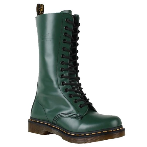 "Dr. Martens Mens Boots 1914 Loden Online    leather  Manmade sole  Shaft measures approximately 11.75"" from arch  Show More  Heel measures approximately 1.25""  Signature Dr. Martens welted construction for durability  Original air cushioned PVC sole"