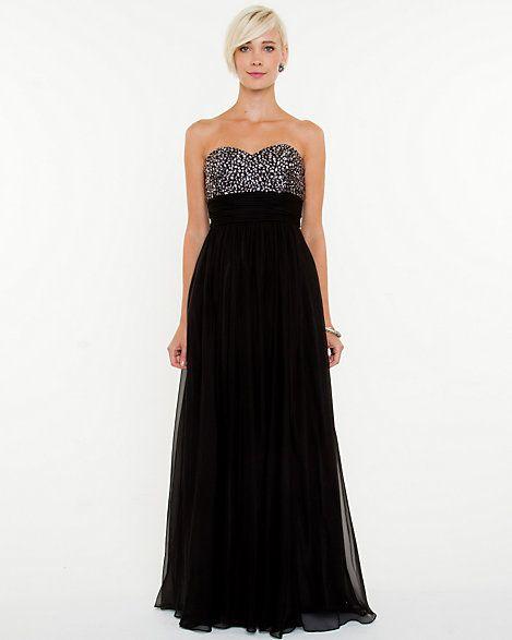Chiffon+Embellished+Sweetheart+Gown