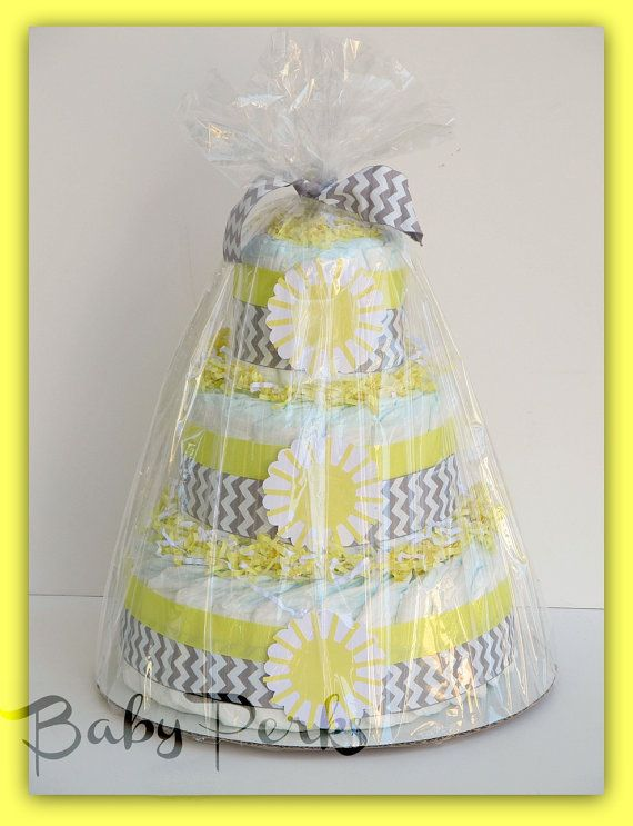 You Are My Sunshine Baby Shower, Sunshine Diaper Cake , Baby Shower Decorations, Yellow and Grey Diaper Cake. $49.00, via Etsy.
