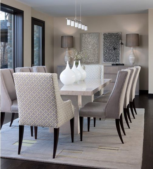 dinning space inspiration...with added stone wall contemporary dining sets (dinning room table goals!)