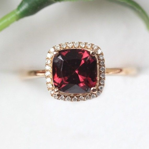 8mm Cushion Cut Garnet Ring Pave Diamond 14K Rose Gold Ring VS Garnet Engagement Ring Wedding Ring