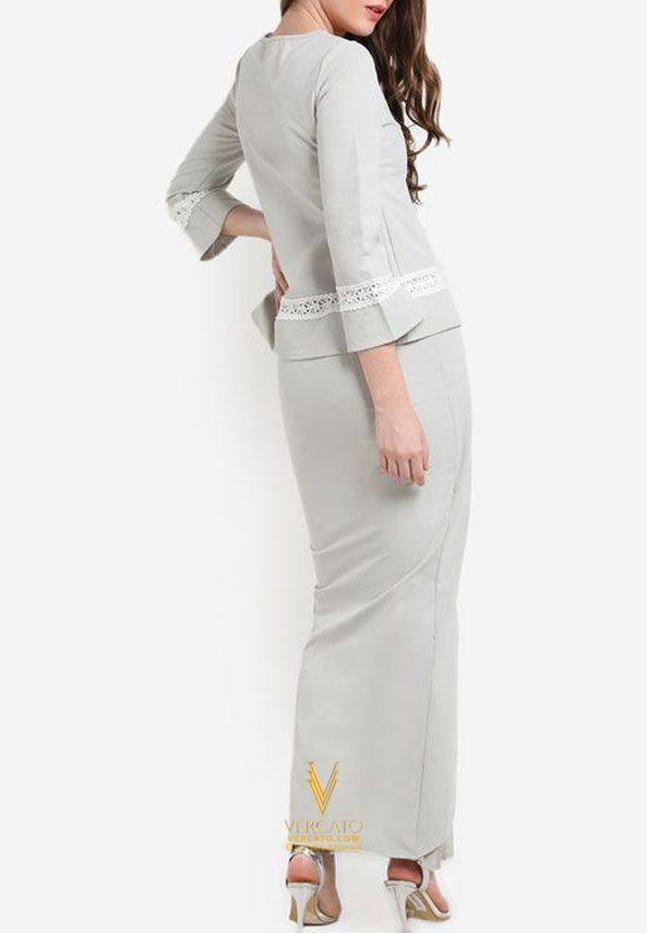 Baju Kurung Moden with Long Tulip Skirt - Vercato Sofia in Grey. SHOP NOW: http://vercato.com/