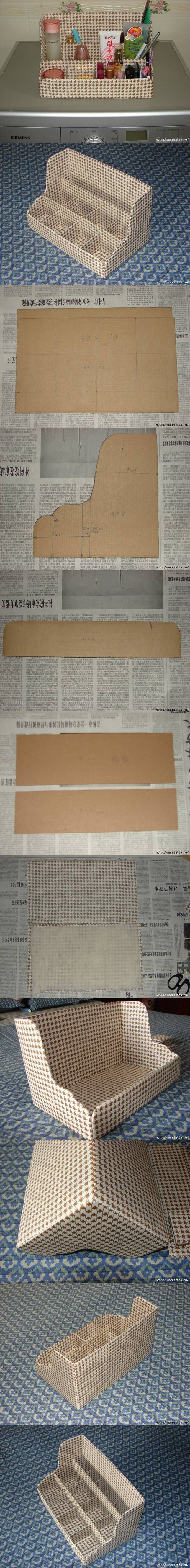 DIY Cardboard Shelves Organizer with a little tweaking this would make a cute desk top for bjd.