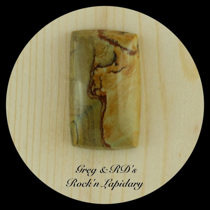 Craig Gulch Picture Jasper Cab by Greg.  30.5mm x 18mm x 7.1mm   Natural hand cut stone, polished back, Girdle angles in slightly towards the top dome making it great for a tight bezel fit or wire wrapping.  $26.00USD + Shipping (from Canada)