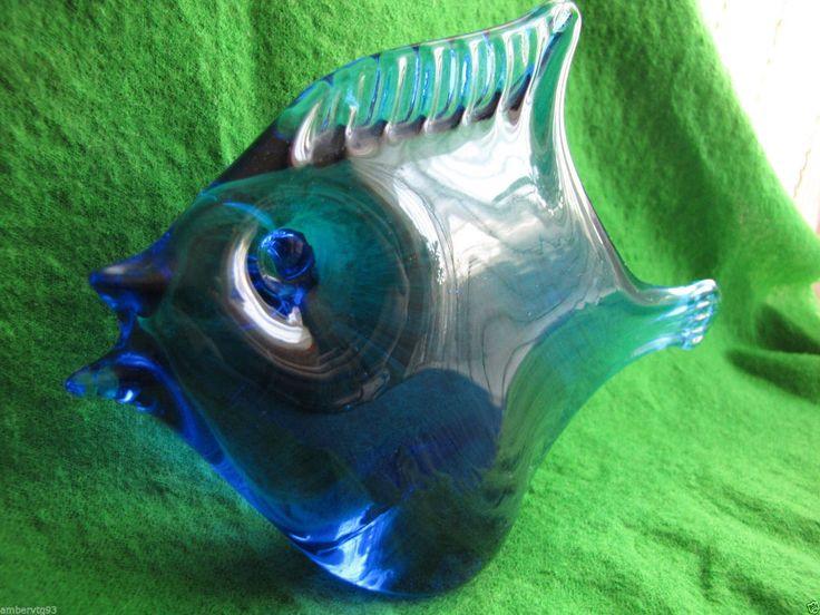 art glass marine fish animals Blue cobalt figurine Decor Vintage Ronneby