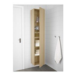 """GODMORGON High cabinet, white stained oak effect - 15 3/4x12 5/8x75 5/8 """" - IKEA"""