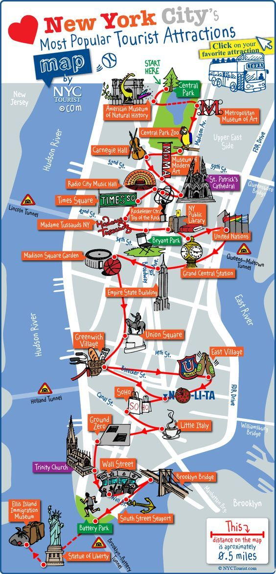 Tourist map of New York City attractions, sightseeing, museums, sites, sights and landmarks.