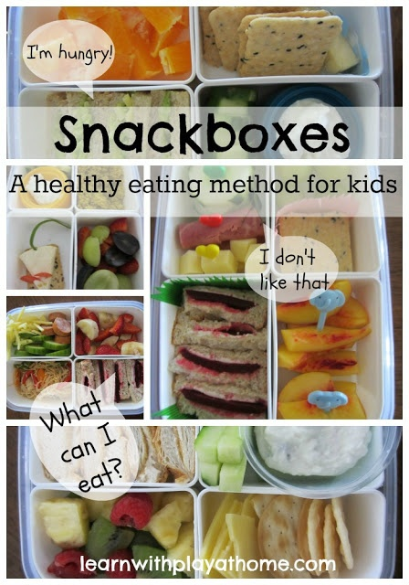 """""""Snackboxes"""" Healthy Food for Kids - put in all the food for the day between breakfast and dinner and let the kids decide when and how much they want to eat...great way to get them eating healthy but still giving them an option!"""