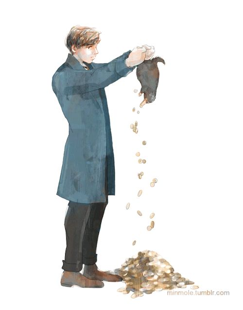 Newt Scamander and Niffler by MinMole