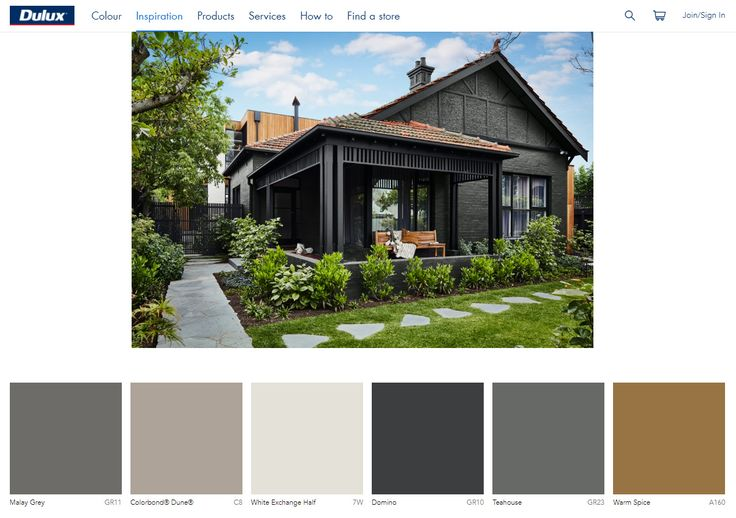 Dulux colour chart  - Bluestone - Basalt - Decking - House Render 1 - House Render 2 - Eave Lining in Alfresco and Cabana