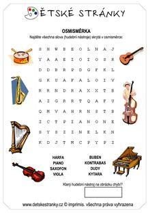 Osmisměrka - hudební nástroje