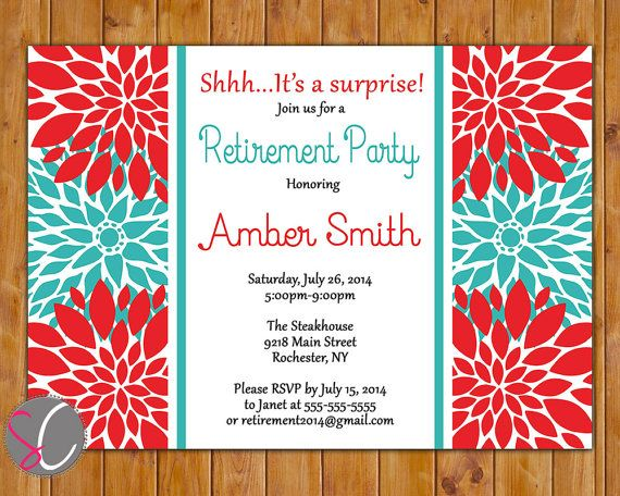 Retirement Party Invite Farewell Celebration Red Teal Floral Burst  Invitation 5x7 Digital JPG DIY Printable (302) on Etsy, $16.00