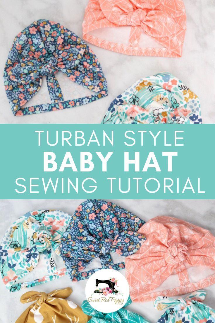 Nähen Sie entzückende Babyhüte im Turban-Stil mit diesem KOSTENLOSEN Schnittmuster. Laden Sie eine …  – Stuff to make