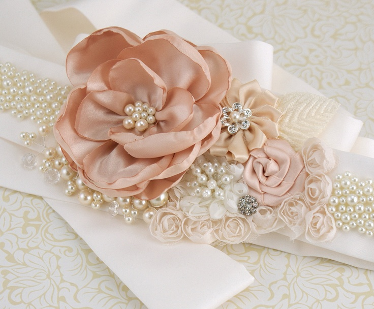 Bridal Sash Wedding Sash in Blush Pink and Ivory with by SolBijou, $280.00  I COULD TOTALLY MAKE THIS MYSELF!!