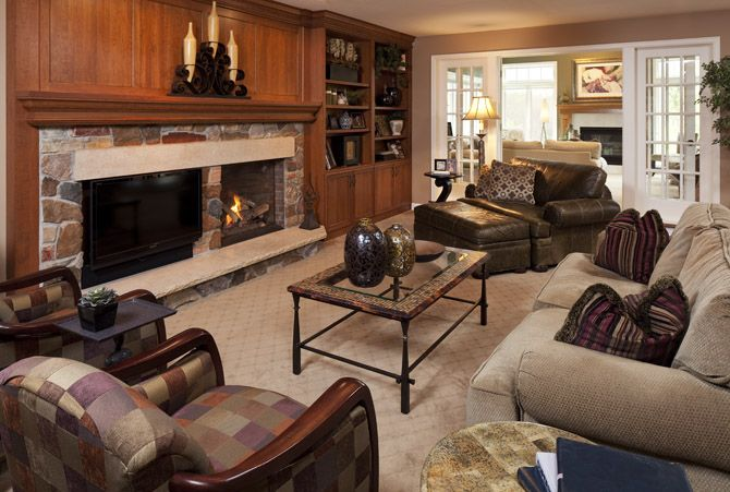 Living Great Room Living Room Family Room Wood Paneled