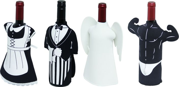 Dress up your wine for the holidays with these fun bottle covers.