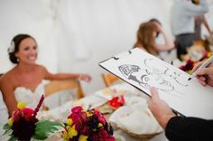 Idées d'animations de mariages : un Caricaturiste qui fait le tour des invités, fun et original et cela laissera à tous un souvenir de cette journée !