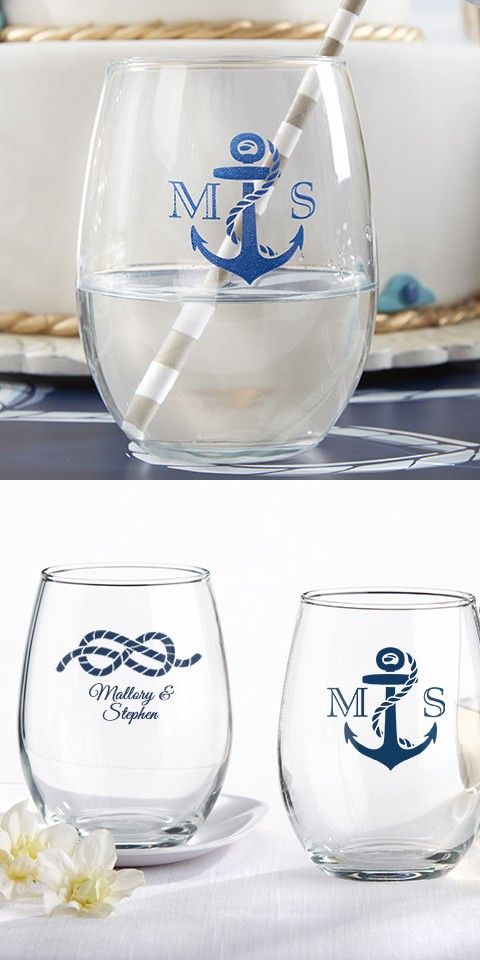 9 Ounce nautical wedding theme stemless wine glasses personalized with choice of anchor design with initials or rope design with bride and groom's name make the perfect wedding take aways for your nautical or beach inspired wedding. Set a glass out at each guest place setting and encourage guests to take their wine glass home when they leave.