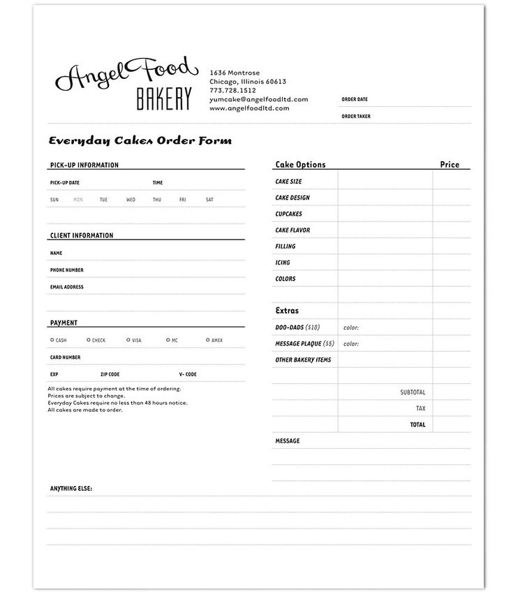 Images Of Cake Order Forms