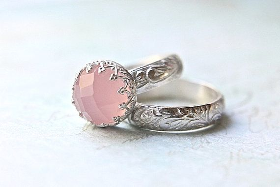 Pink wedding ring set from Etsy shop:ButtercupandCo, $120.00