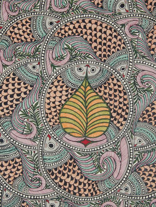 Multicolor Fish Madhubani Painting- 30.2in x 22in